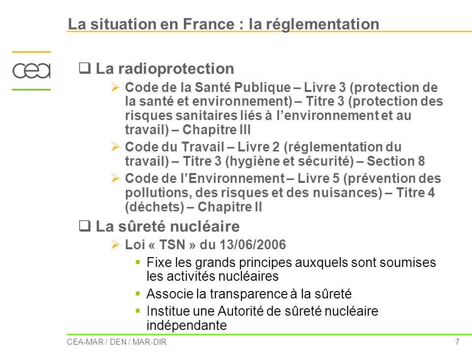 CEA-MAR / DEN / MAR-DIR 7 La situation en France : la réglementation La radioprotection Code de la Santé Publique – Livre 3 (protection de la santé et
