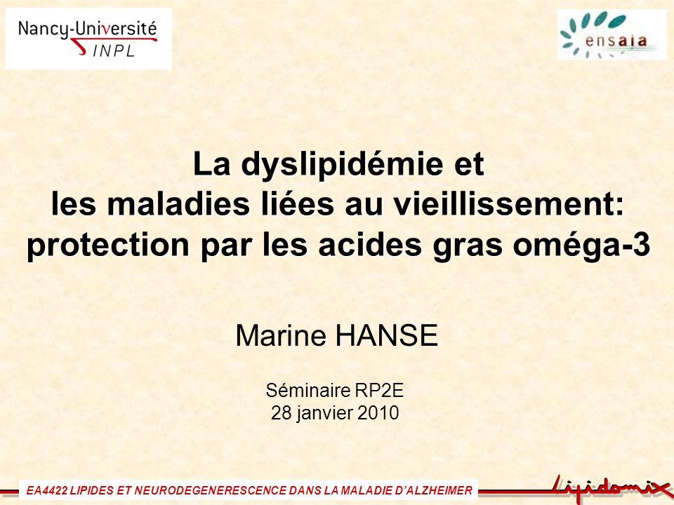 La dyslipidémie et les maladies liées au vieillissement: protection par les acides gras oméga-3 Marine HANSE Séminaire RP2E 28 janvier 2010 EA4422 LIP