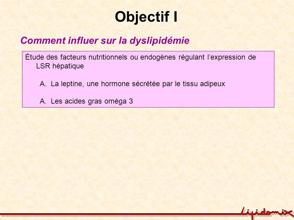 Objectif I Comment influer sur la dyslipidémie Étude des facteurs nutritionnels ou endogènes régulant lexpression de LSR hépatique A.La leptine, une h