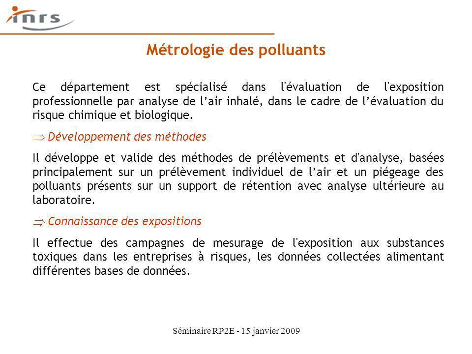 Séminaire RP2E - 15 janvier 2009 Métrologie des polluants Ce département est spécialisé dans l'évaluation de l'exposition professionnelle par analyse