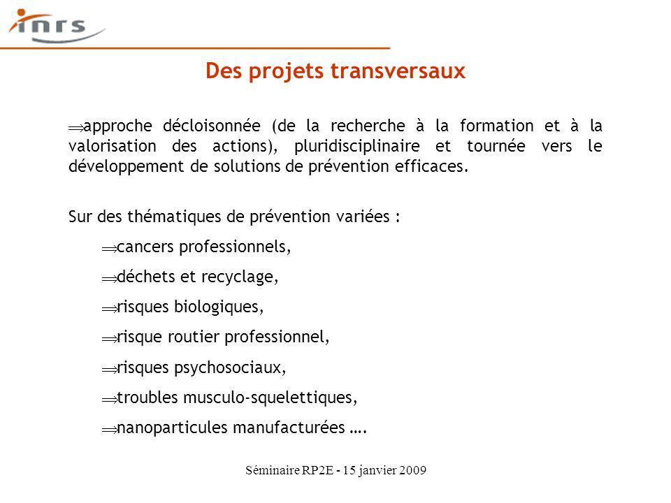 Séminaire RP2E - 15 janvier 2009 Des projets transversaux approche décloisonnée (de la recherche à la formation et à la valorisation des actions), plu