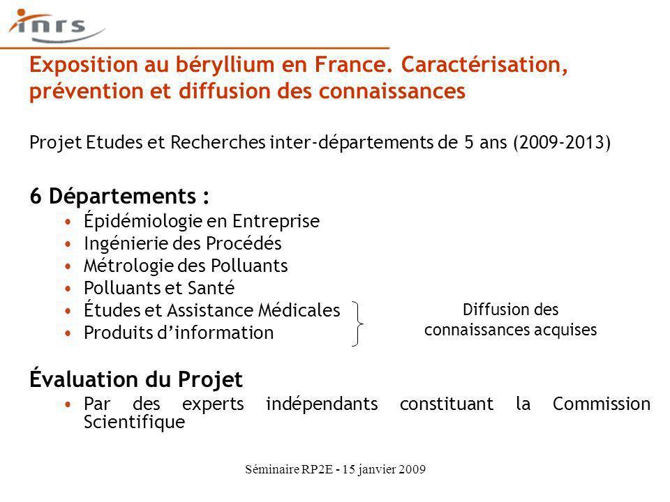 Séminaire RP2E - 15 janvier 2009 6 Départements : Épidémiologie en Entreprise Ingénierie des Procédés Métrologie des Polluants Polluants et Santé Étud