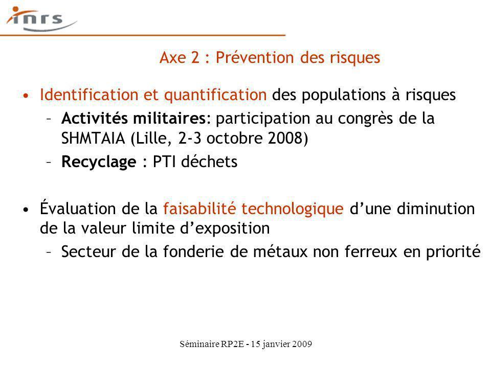 Séminaire RP2E - 15 janvier 2009 Identification et quantification des populations à risques –Activités militaires: participation au congrès de la SHMT