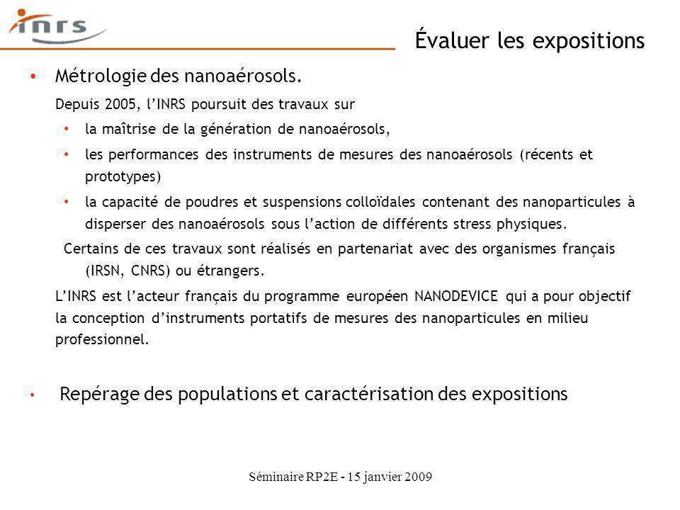 Séminaire RP2E - 15 janvier 2009 Évaluer les expositions Métrologie des nanoaérosols. Depuis 2005, lINRS poursuit des travaux sur la maîtrise de la gé