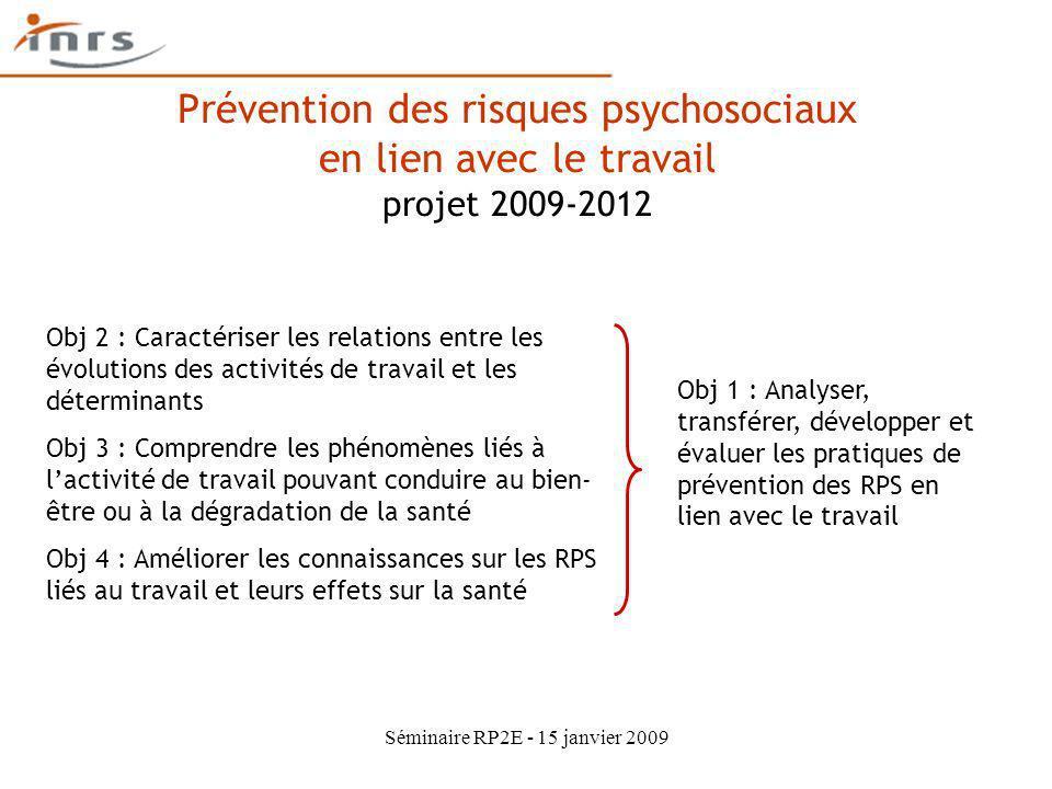 Séminaire RP2E - 15 janvier 2009 Prévention des risques psychosociaux en lien avec le travail projet 2009-2012 Obj 2 : Caractériser les relations entr