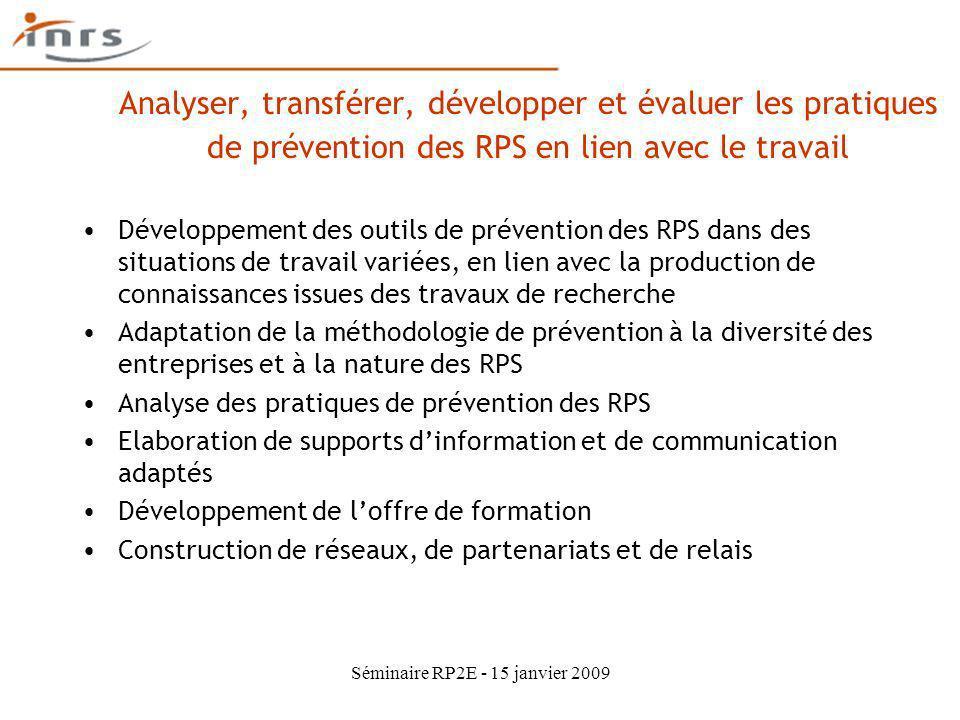 Séminaire RP2E - 15 janvier 2009 Analyser, transférer, développer et évaluer les pratiques de prévention des RPS en lien avec le travail Développement