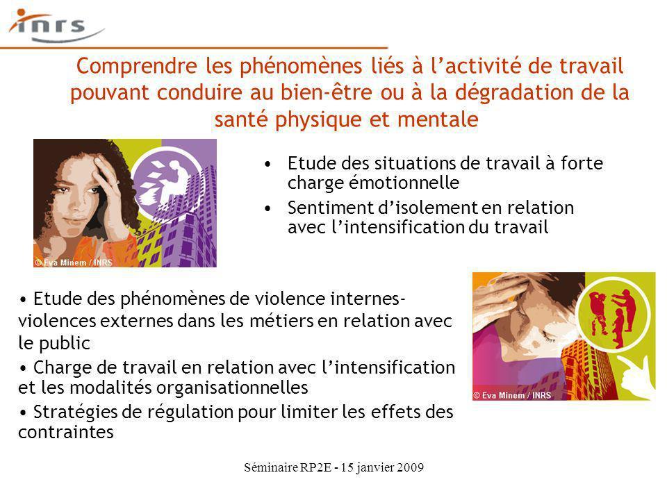 Séminaire RP2E - 15 janvier 2009 Comprendre les phénomènes liés à lactivité de travail pouvant conduire au bien-être ou à la dégradation de la santé p
