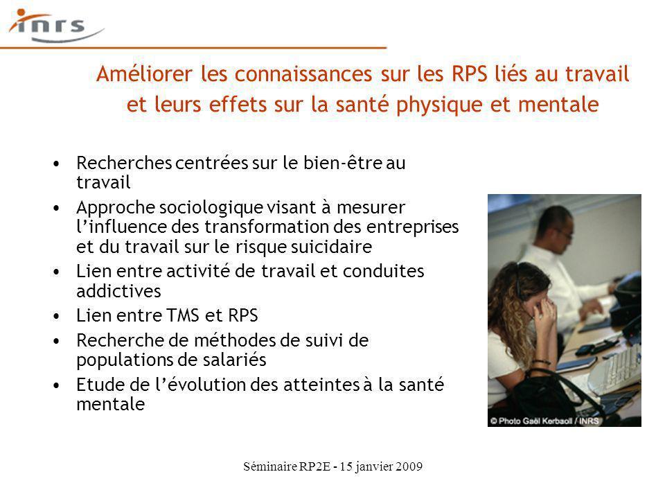 Séminaire RP2E - 15 janvier 2009 Améliorer les connaissances sur les RPS liés au travail et leurs effets sur la santé physique et mentale Recherches c