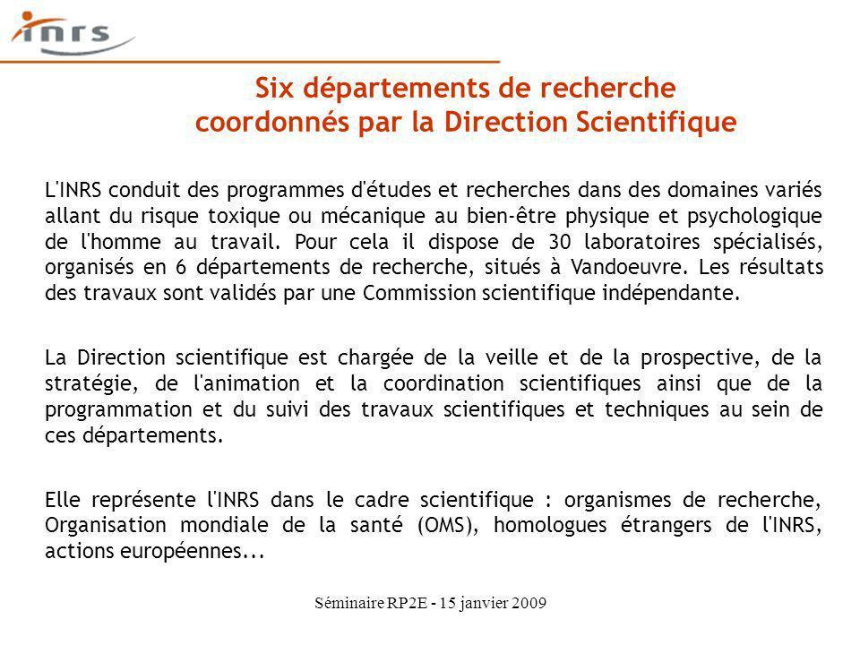 Six départements de recherche coordonnés par la Direction Scientifique L'INRS conduit des programmes d'études et recherches dans des domaines variés a