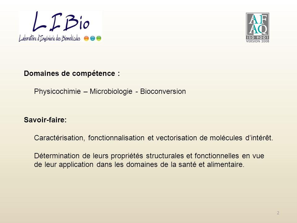 Domaines de compétence : Physicochimie – Microbiologie - Bioconversion Savoir-faire: Caractérisation, fonctionnalisation et vectorisation de molécules
