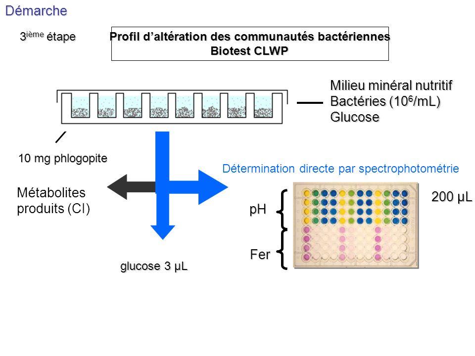 pH Fer glucose 3 µL Milieu minéral nutritif Bactéries (10 6 /mL) Glucose 10 mg phlogopite Détermination directe par spectrophotométrieDémarche Profil
