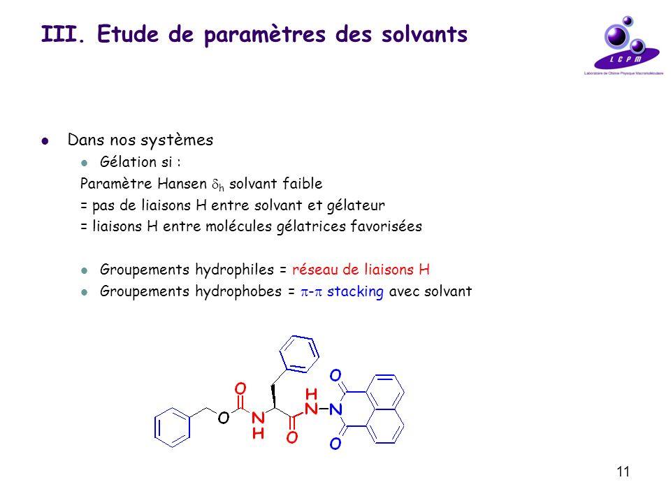 11 III. Etude de paramètres des solvants Dans nos systèmes Gélation si : Paramètre Hansen h solvant faible = pas de liaisons H entre solvant et gélate