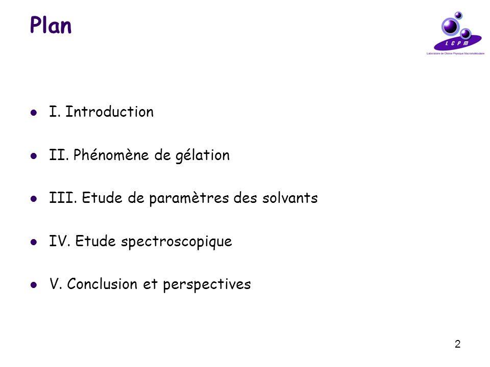 2 Plan I. Introduction II. Phénomène de gélation III. Etude de paramètres des solvants IV. Etude spectroscopique V. Conclusion et perspectives