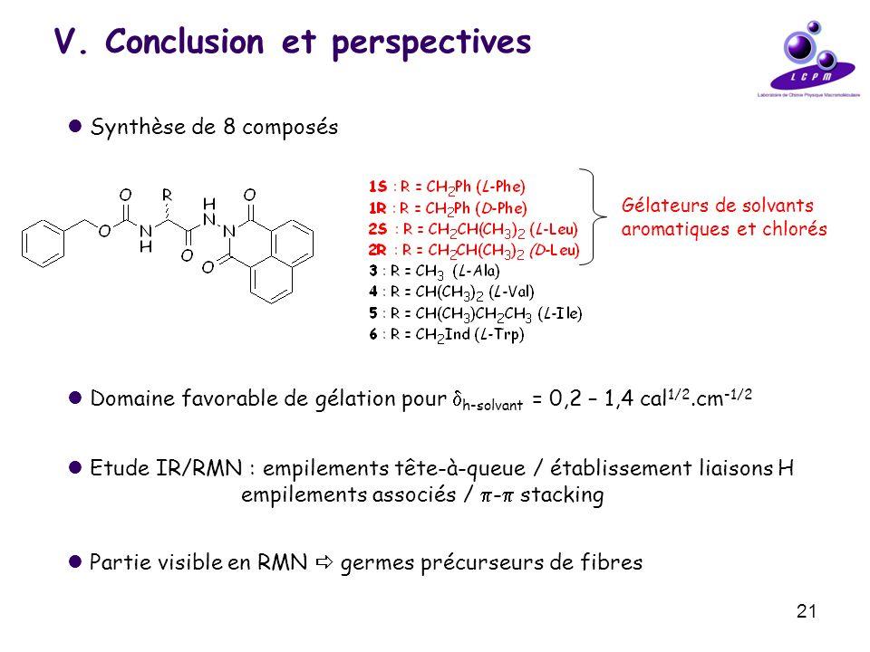 21 V. Conclusion et perspectives Synthèse de 8 composés Gélateurs de solvants aromatiques et chlorés Domaine favorable de gélation pour h-solvant = 0,
