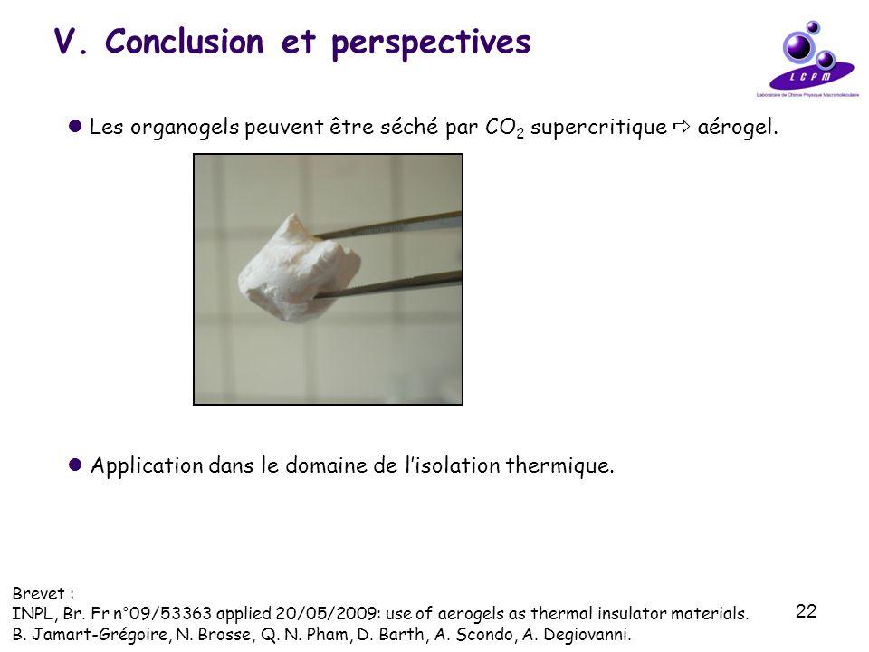 22 V. Conclusion et perspectives Les organogels peuvent être séché par CO 2 supercritique aérogel. Application dans le domaine de lisolation thermique
