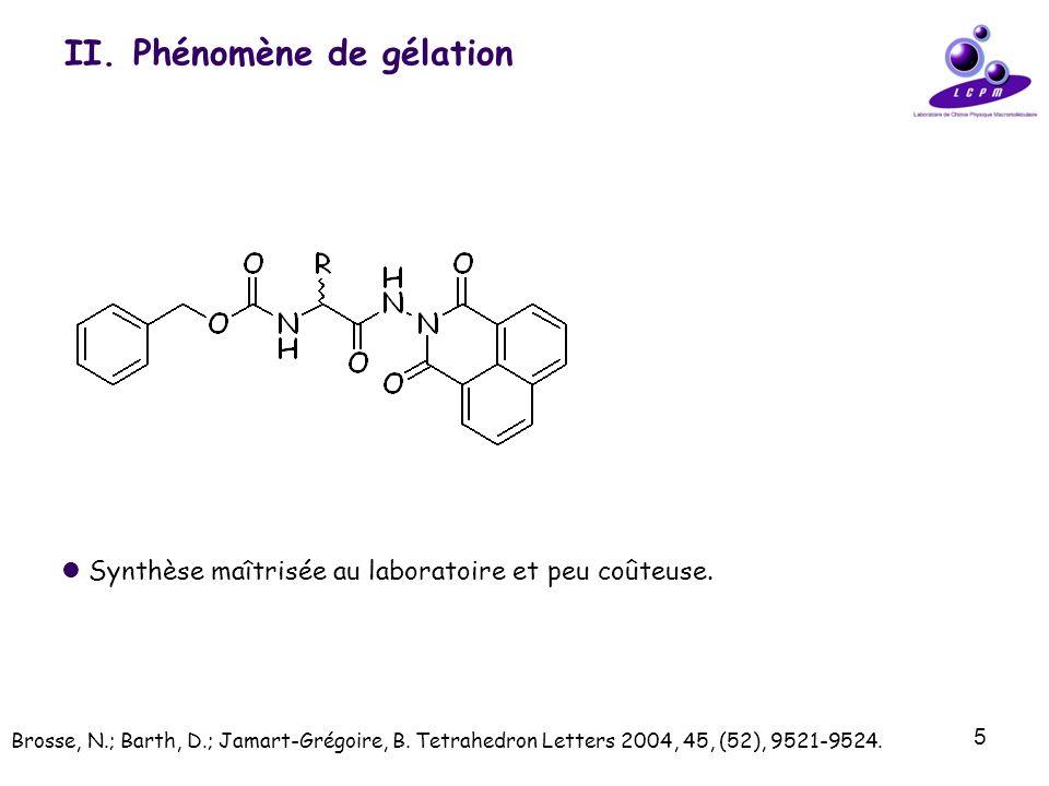 5 II. Phénomène de gélation Synthèse maîtrisée au laboratoire et peu coûteuse. Brosse, N.; Barth, D.; Jamart-Grégoire, B. Tetrahedron Letters 2004, 45