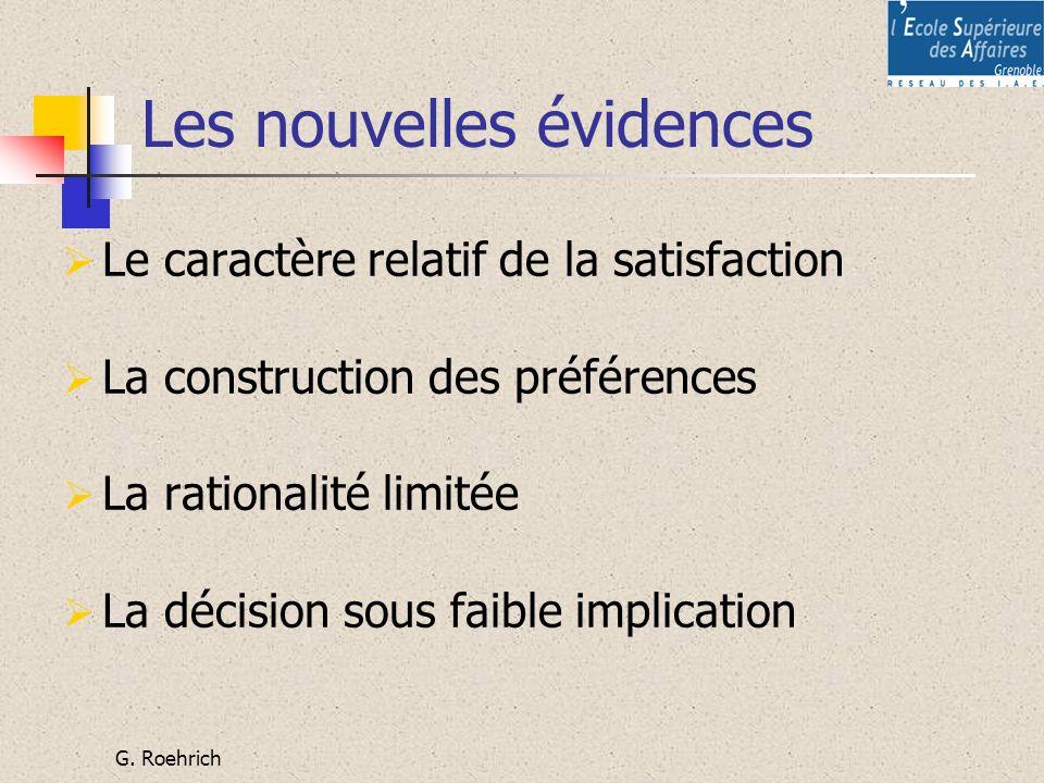 G. Roehrich Les nouvelles évidences Le caractère relatif de la satisfaction La construction des préférences La rationalité limitée La décision sous fa