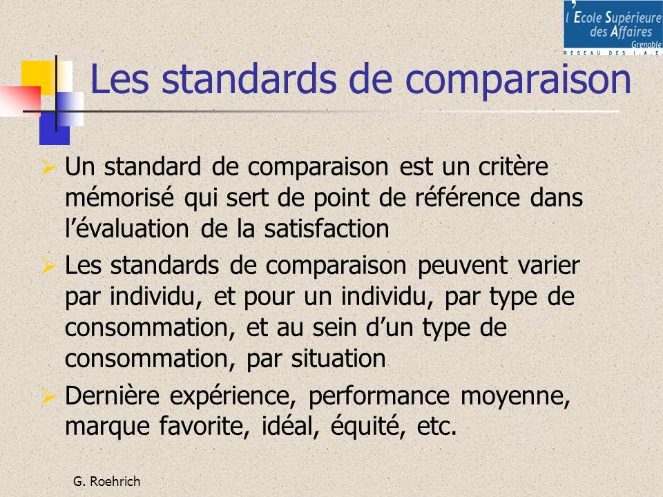 G. Roehrich Les standards de comparaison Un standard de comparaison est un critère mémorisé qui sert de point de référence dans lévaluation de la sati