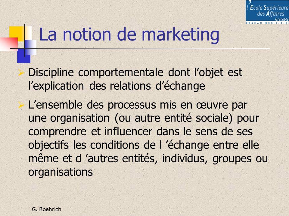 G. Roehrich La notion de marketing Discipline comportementale dont lobjet est lexplication des relations déchange Lensemble des processus mis en œuvre