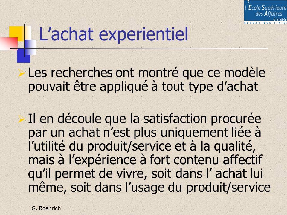 G. Roehrich Lachat experientiel Les recherches ont montré que ce modèle pouvait être appliqué à tout type dachat Il en découle que la satisfaction pro