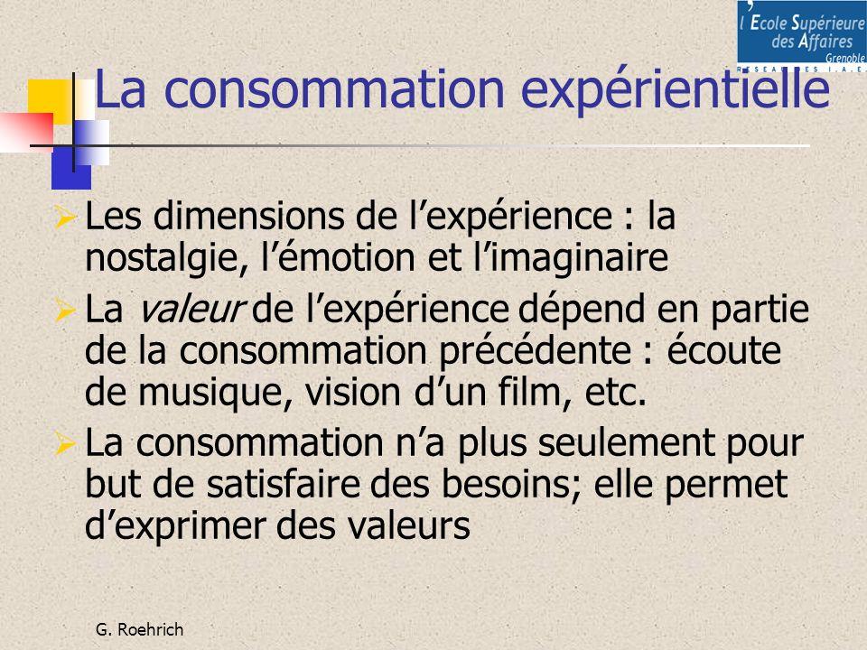 G. Roehrich La consommation expérientielle Les dimensions de lexpérience : la nostalgie, lémotion et limaginaire La valeur de lexpérience dépend en pa