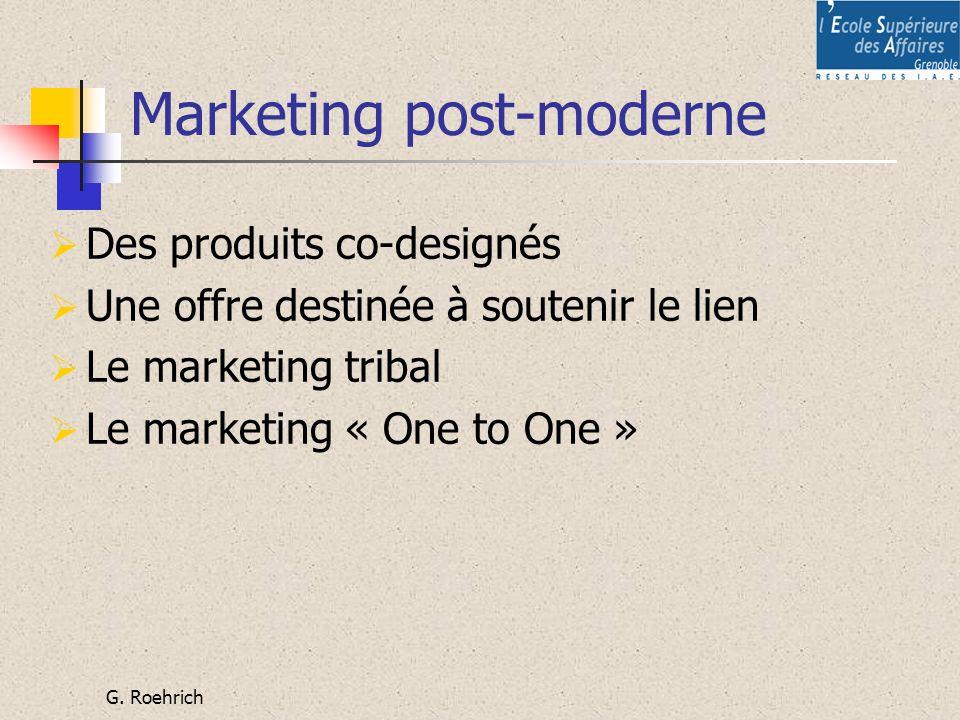 G. Roehrich Marketing post-moderne Des produits co-designés Une offre destinée à soutenir le lien Le marketing tribal Le marketing « One to One »