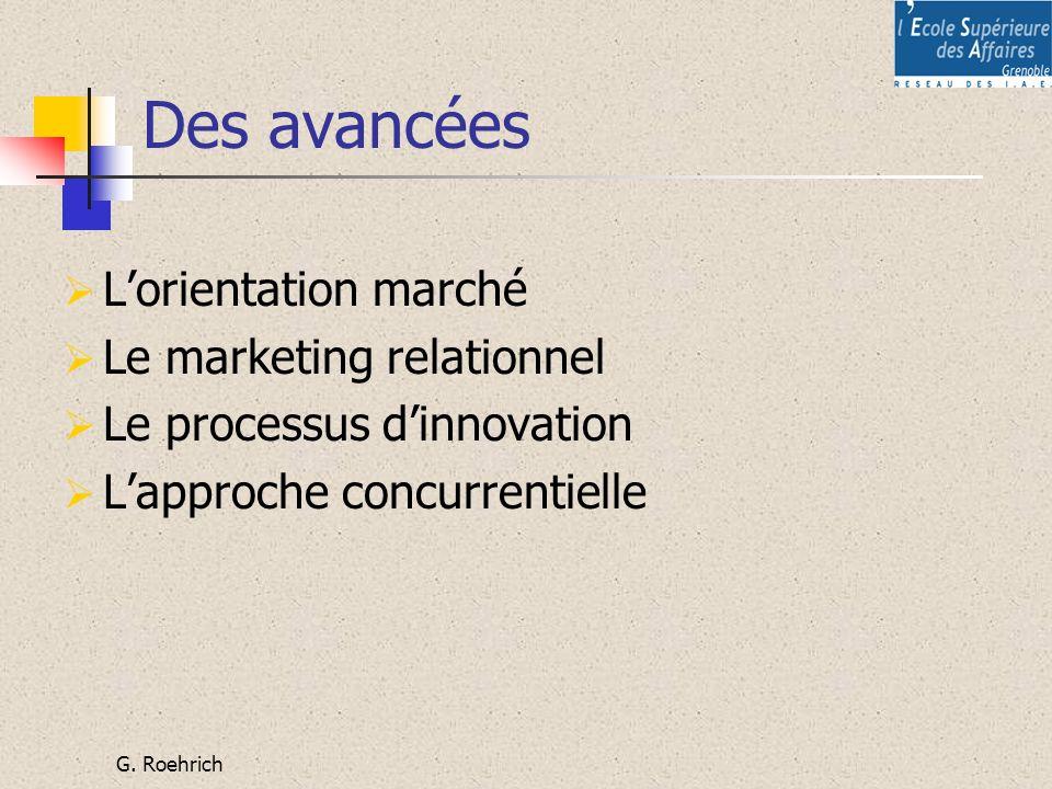 G. Roehrich Des avancées Lorientation marché Le marketing relationnel Le processus dinnovation Lapproche concurrentielle