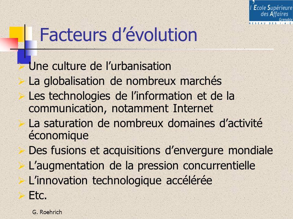 G. Roehrich Facteurs dévolution Une culture de lurbanisation La globalisation de nombreux marchés Les technologies de linformation et de la communicat