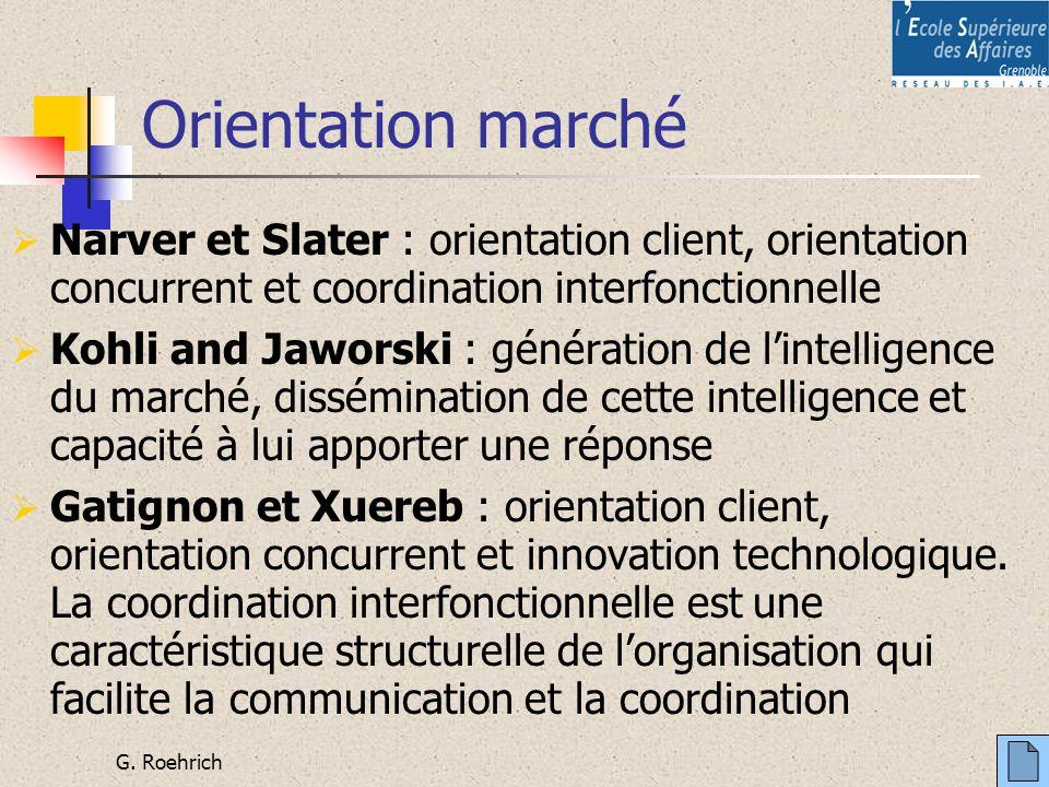 G. Roehrich Orientation marché Narver et Slater : orientation client, orientation concurrent et coordination interfonctionnelle Kohli and Jaworski : g
