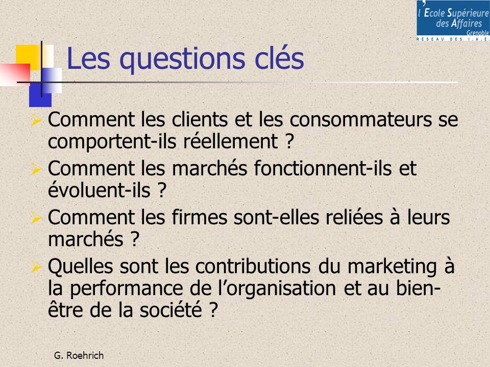 G. Roehrich Les questions clés Comment les clients et les consommateurs se comportent-ils réellement ? Comment les marchés fonctionnent-ils et évoluen