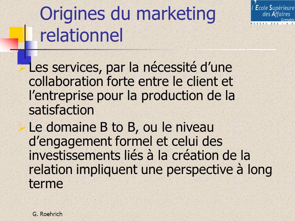 G. Roehrich Origines du marketing relationnel Les services, par la nécessité dune collaboration forte entre le client et lentreprise pour la productio