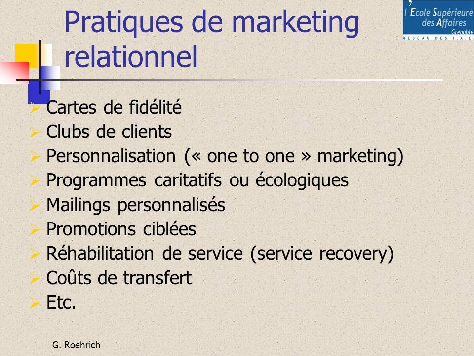 G. Roehrich Pratiques de marketing relationnel Cartes de fidélité Clubs de clients Personnalisation (« one to one » marketing) Programmes caritatifs o