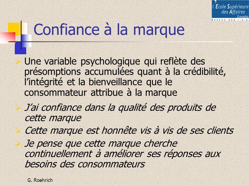 G. Roehrich Confiance à la marque Une variable psychologique qui reflète des présomptions accumulées quant à la crédibilité, lintégrité et la bienveil