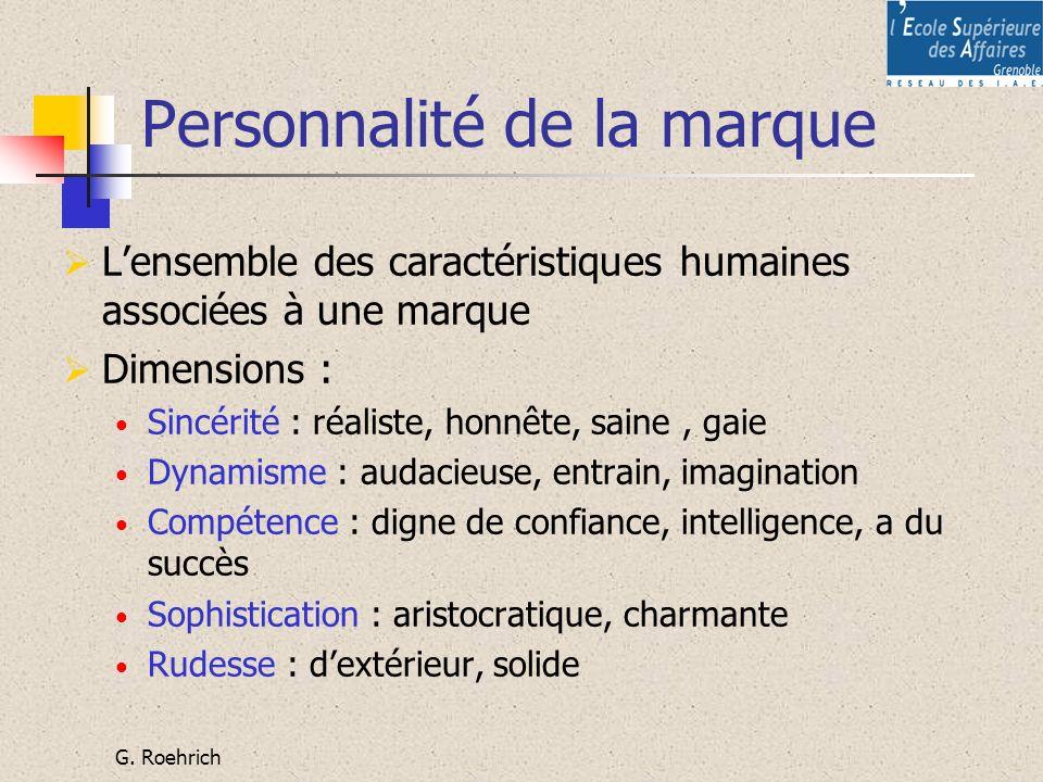 G. Roehrich Personnalité de la marque Lensemble des caractéristiques humaines associées à une marque Dimensions : Sincérité : réaliste, honnête, saine