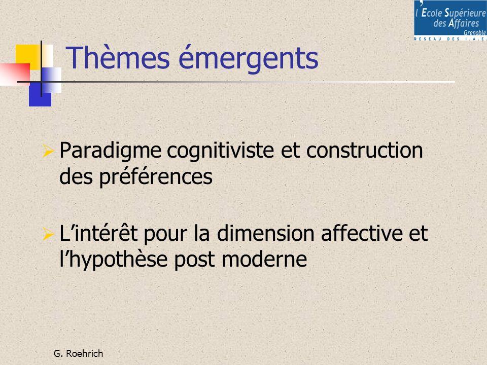 G. Roehrich Thèmes émergents Paradigme cognitiviste et construction des préférences Lintérêt pour la dimension affective et lhypothèse post moderne