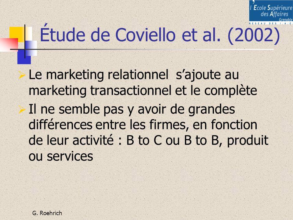 G. Roehrich Étude de Coviello et al. (2002) Le marketing relationnel sajoute au marketing transactionnel et le complète Il ne semble pas y avoir de gr