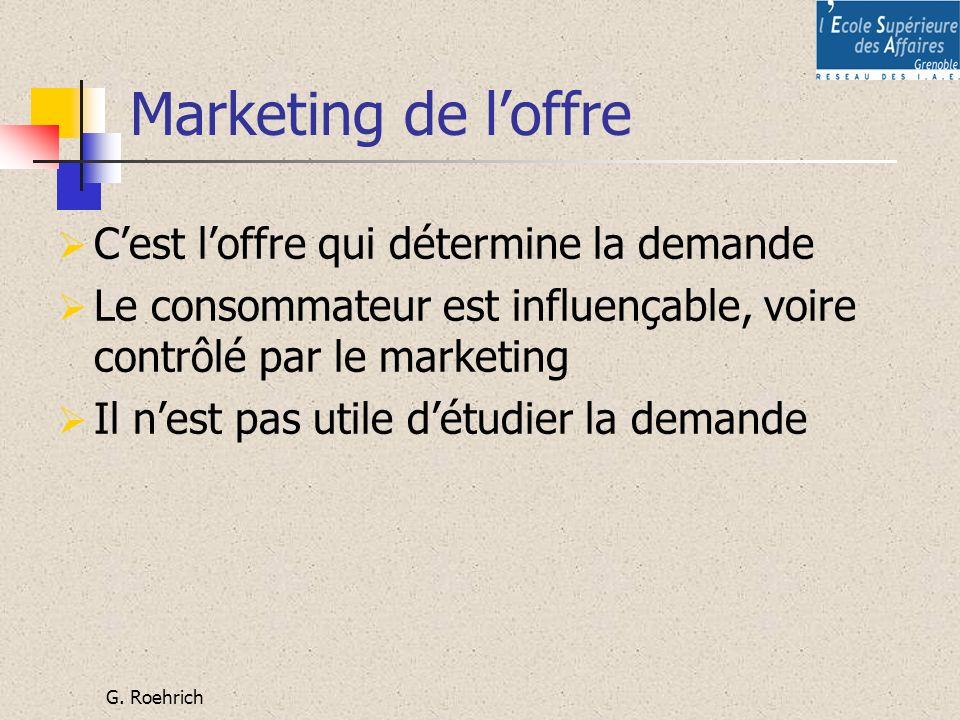 G. Roehrich Marketing de loffre Cest loffre qui détermine la demande Le consommateur est influençable, voire contrôlé par le marketing Il nest pas uti