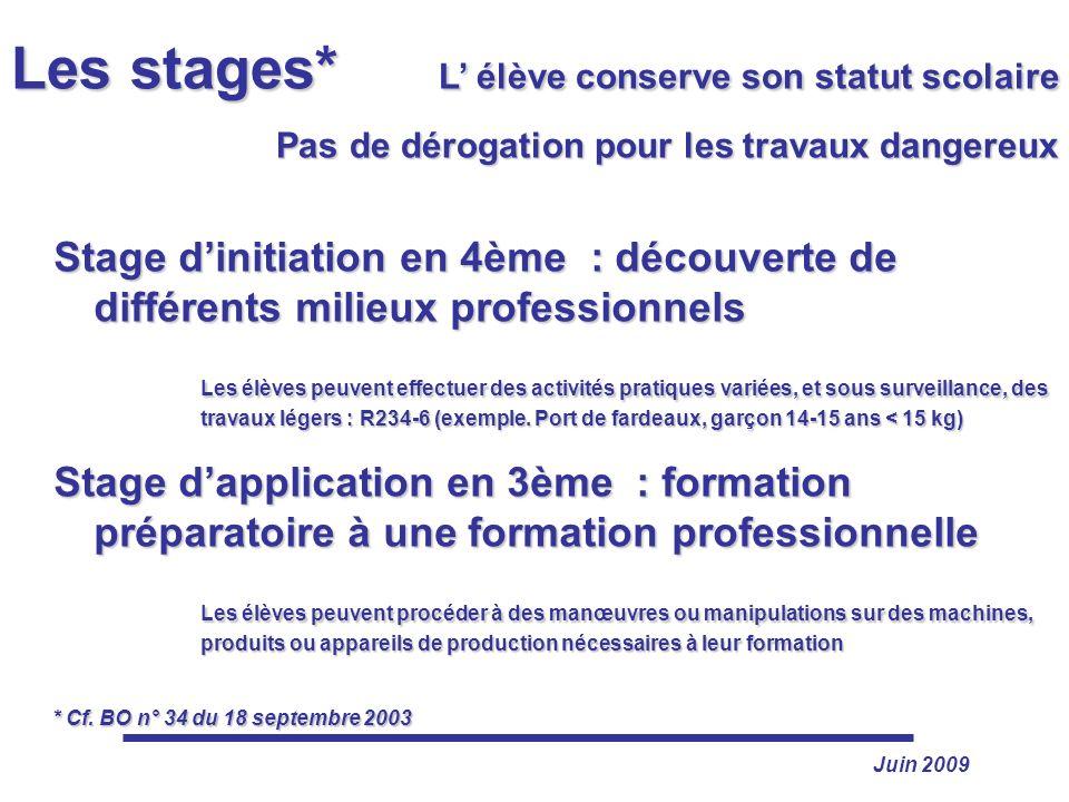 Juin 2009 Les stages* L élève conserve son statut scolaire Pas de dérogation pour les travaux dangereux Pas de dérogation pour les travaux dangereux S