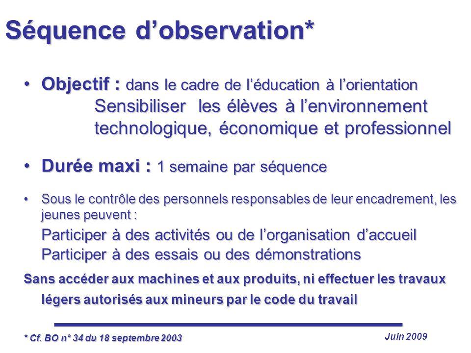 Juin 2009 Séquence dobservation* Objectif : dans le cadre de léducation à lorientation Sensibiliser les élèves à lenvironnement technologique, économi