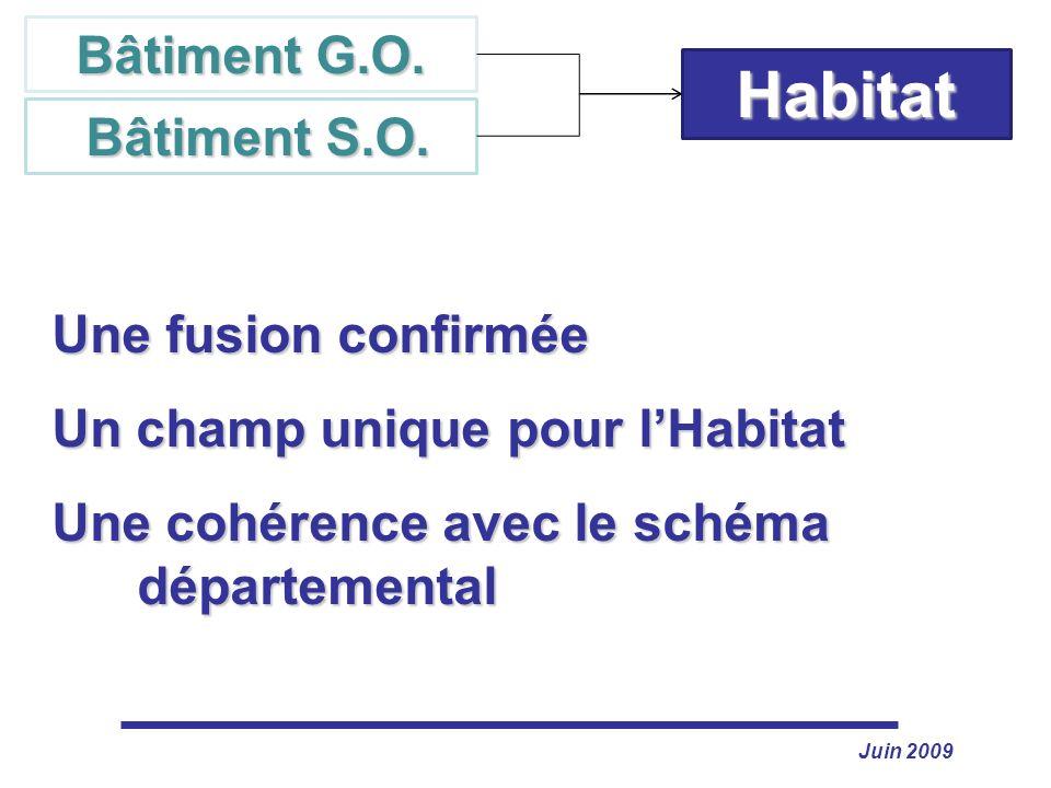Juin 2009 Habitat Bâtiment G.O. Bâtiment S.O. Bâtiment S.O. Une fusion confirmée Un champ unique pour lHabitat Une cohérence avec le schéma départemen