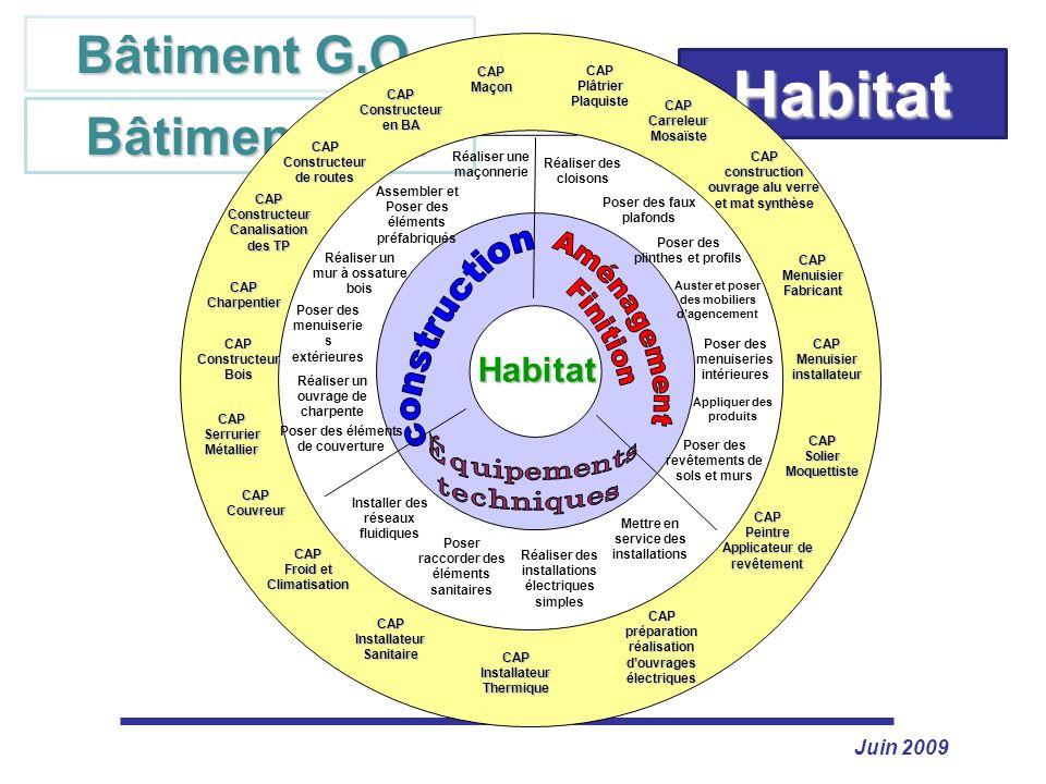 Juin 2009 Habitat Bâtiment G.O. Bâtiment S.O. Bâtiment S.O. Habitat Réaliser un mur à ossature bois Assembler et Poser des éléments préfabriqués Poser
