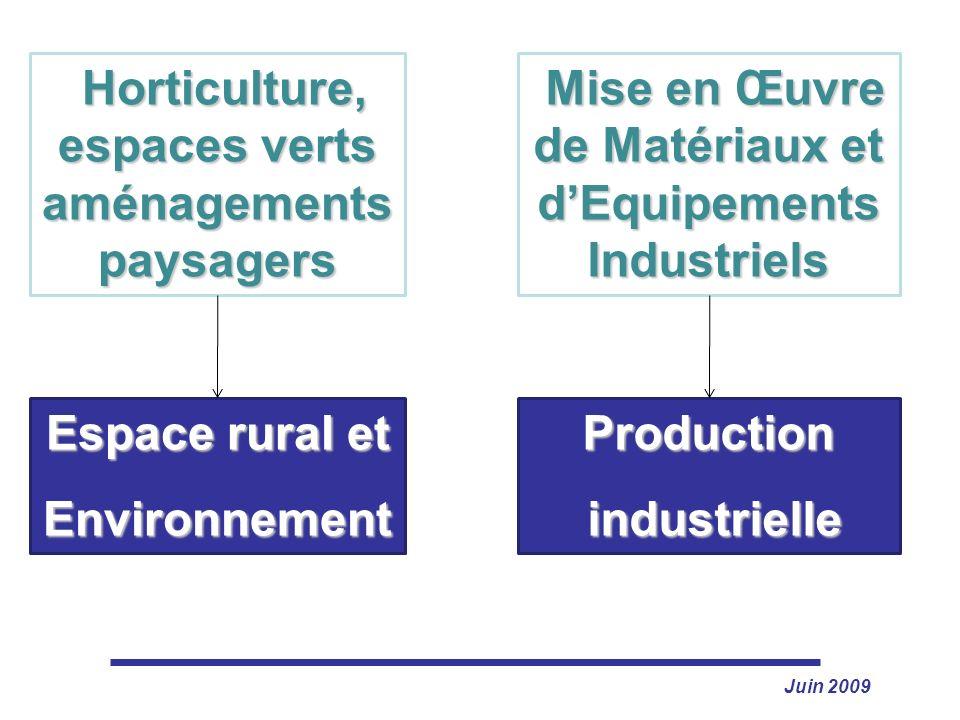 Juin 2009 Espace rural et Environnement Horticulture, espaces verts aménagements paysagers Horticulture, espaces verts aménagements paysagers Producti