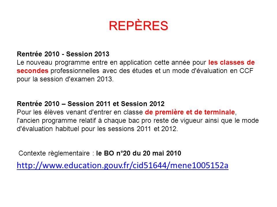 REPÈRES Rentrée 2010 - Session 2013 Le nouveau programme entre en application cette année pour les classes de secondes professionnelles avec des études et un mode d évaluation en CCF pour la session d examen 2013.