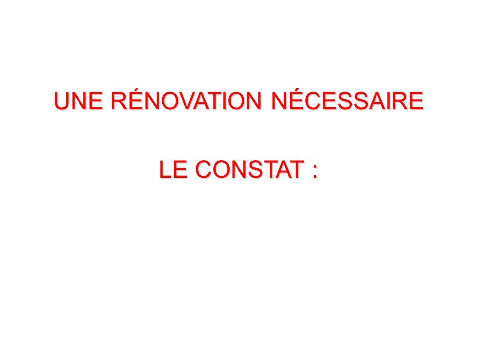 UNE RÉNOVATION NÉCESSAIRE LE CONSTAT :