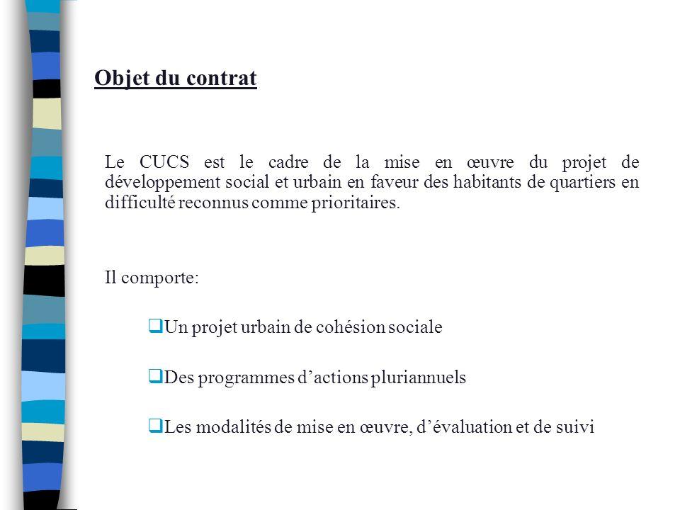 Objet du contrat Le CUCS est le cadre de la mise en œuvre du projet de développement social et urbain en faveur des habitants de quartiers en difficul