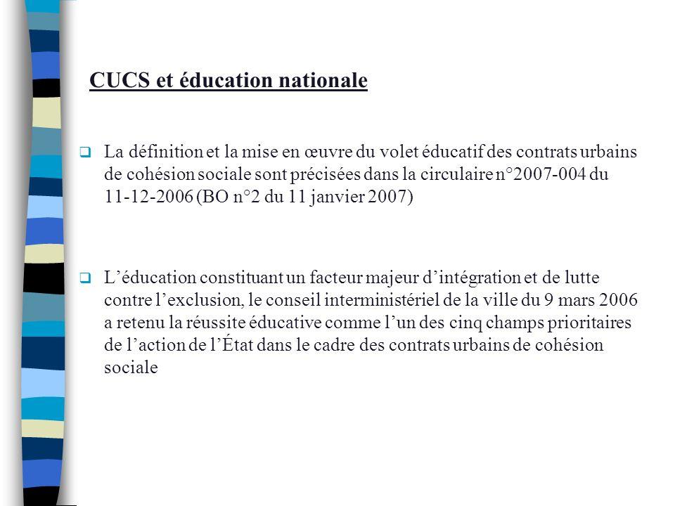 CUCS et éducation nationale La définition et la mise en œuvre du volet éducatif des contrats urbains de cohésion sociale sont précisées dans la circul