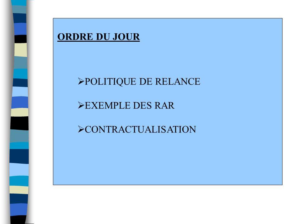 ORDRE DU JOUR POLITIQUE DE RELANCE EXEMPLE DES RAR CONTRACTUALISATION