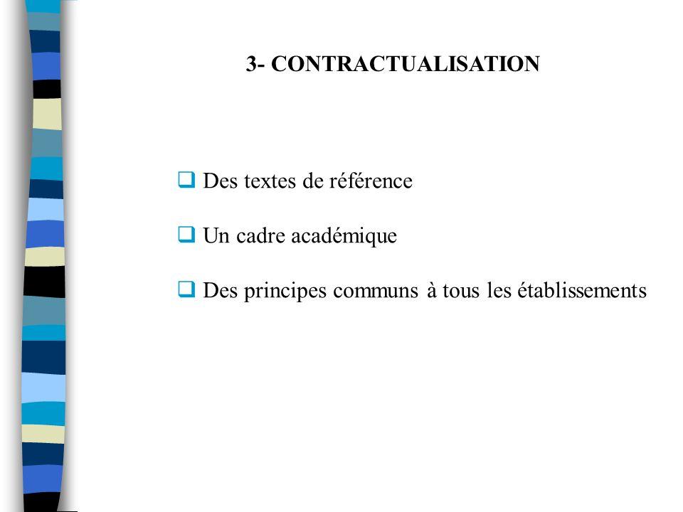 3- CONTRACTUALISATION Des textes de référence Un cadre académique Des principes communs à tous les établissements