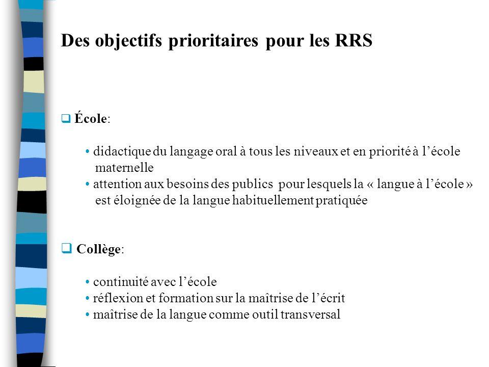 Des objectifs prioritaires pour les RRS École: didactique du langage oral à tous les niveaux et en priorité à lécole maternelle attention aux besoins