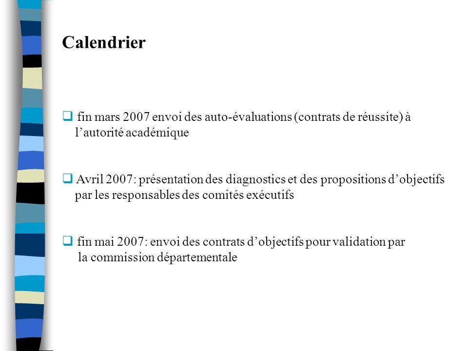 Calendrier fin mars 2007 envoi des auto-évaluations (contrats de réussite) à lautorité académique Avril 2007: présentation des diagnostics et des prop